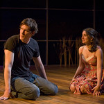 Nathan Hosner (Ian) and Rebecca Buller (Daisy) in HESPERIA at Writers Theatre. Photo by Michael Brosilow.