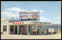 4 Way Service Station, 1950's photo by Roadsidepictures