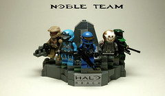 Lego Halo Noble Team statue photo by Commander Hess