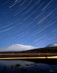 Celestial Spin, Rise of Orion - Star Trails and Car Trails photo by David Hannah