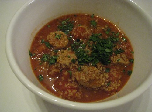 Quickly Stewed Tomatoes with Sausage and Bulgur