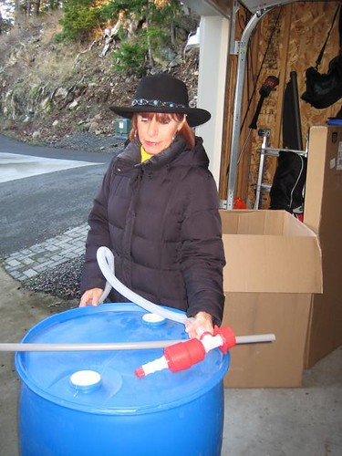 Gaye and her water barrel