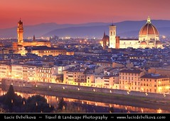 Italy - Tuscany - Florence Duomo at Sunset - UNESCO World Heritage Site photo by © Lucie Debelkova / www.luciedebelkova.com
