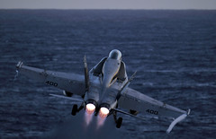 An F/A-18C Hornet launches. photo by Official U.S. Navy Imagery