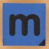 Blue foam brick letter m