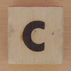 Wood Brick Scorched Letter c