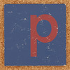 Cardboard red letter p