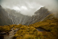 Waterfalls up on Mackinnon Pass | Milford Track, New Zealand. photo by cookiesound
