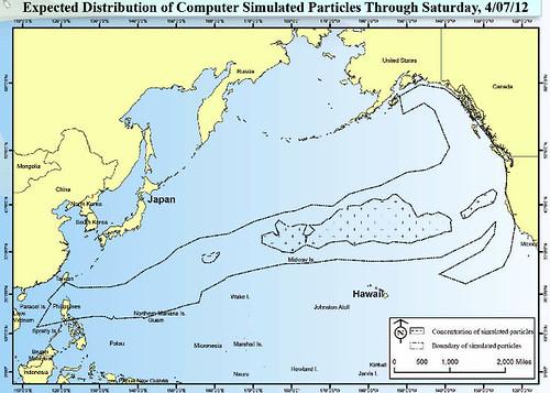 NOAA tsunami debris pattern