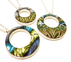 Polymer Clay and Sterling Silver Donut Pendants photo by Rebecca Geoffrey