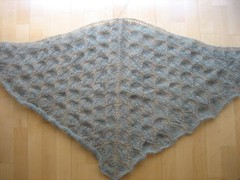 Leaf lace shawl, ready to block