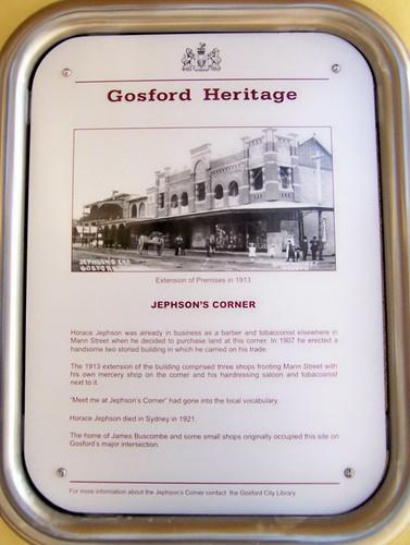 Jephson's Corner Gosford Heritage plaque Mann Street Gosford