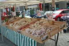 Garlic for sale at Edinburgh's French market on Grassmarket