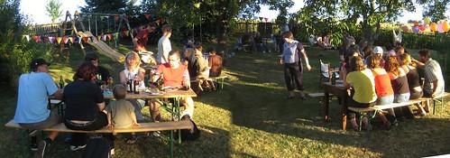 Party-Panorama von unserer Abschieds-Gartenparty
