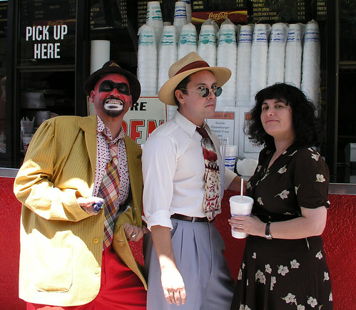 1947project Crime Bus hosts Kim and Nathan with Crimebo the Crime Clown