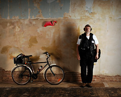 Portrait of a Photographer with a Purpose-built Bicycle and a Pink Flamingo photo by Studio d'Xavier