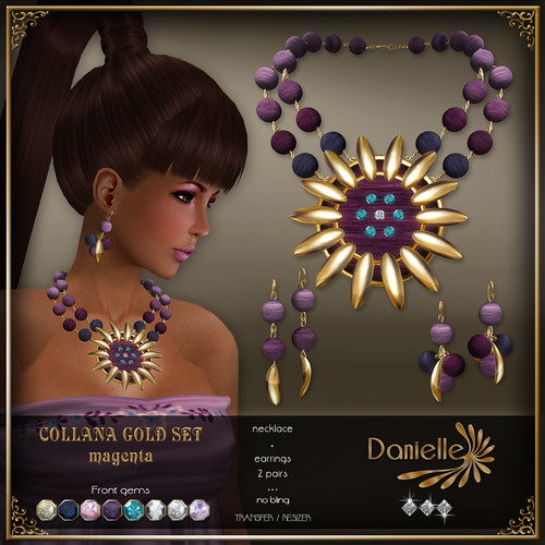 DANIELLE Collana Gold Set ~ Magenta