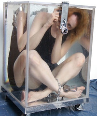 Dayle Krall performing the Full View Water Cell Escape photo by Dayle Krall:Most Accomplished Female Escape Artist