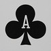 Round Playing Card Ace of Clubs