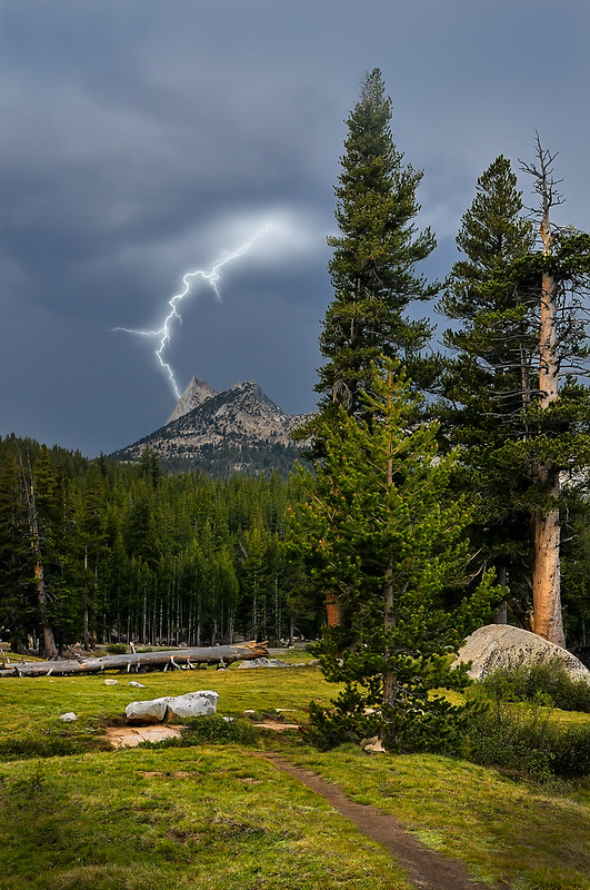 Cathedral Peak Lightning - Yosemite National park photo by Darvin Atkeson