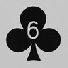 Round Playing Card 6 of Clubs