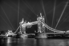 Spotlights on Tower Bridge for Olympics rehearsals photo by IanVisits