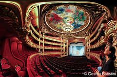 Opera Garnier, and the ceiling paint by Marc Chagall, Paris, France photo by Gaston Batistini