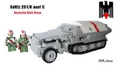 """Sd.Kfz. 251/8 Ausf. C """"Ambulance Halftrack"""" WWII LEGO photo by MR. Jens"""