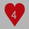 Round Playing Card 4 of Hearts