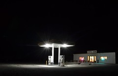 Gas station at night photo by raindog