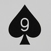 Round Playing Card 9 of Spades