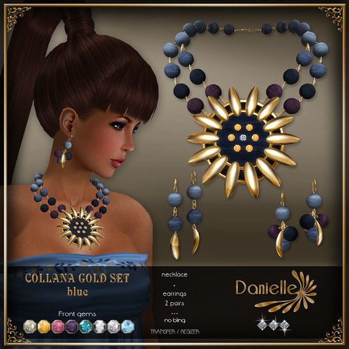DANIELLE Collana Gold Set ~ Blue