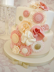 Ruffle flower birthday cake photo by The Designer Cake Company