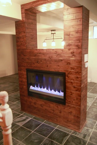 cedar paneling on fireplace