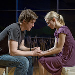 Nathan Hosner (Ian) and Kelly O'Sullivan (Claudia) in HESPERIA at Writers Theatre. Photo by Michael Brosilow.