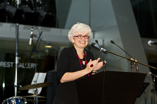Sarah Gardner welcomes World Summit delegates to the Melbourne Museum for the official dinner