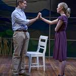 Erik Hellman (Trick) and Kelly O'Sullivan (Claudia) in HESPERIA at Writers Theatre. Photo by Michael Brosilow.