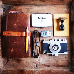 Traveler's notebook, slip-on pen holder, Artline inkpad, masking tape, gizmon iPhone case, Chronodex stamp photo by Patrick Ng