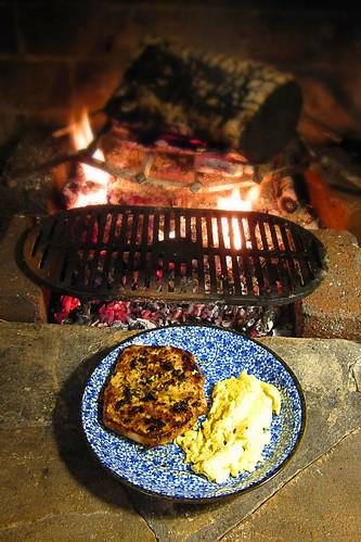 Fireplace pork chop breakfast