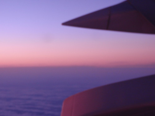 Plane Wing and Sunset Over Middle America