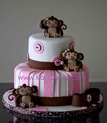 Monkey baby shower cake photo by Kalli Cakes