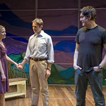 Kelly O'Sullivan (Claudia), Erik Hellman (Trick), and Nathan Hosner (Ian) in HESPERIA at Writers Theatre. Photo by Michael Brosilow.