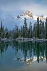 Cathedral Mountain Reflected in Lake O'Hara photo by Lee Rentz