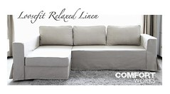 IKEA Manstad Sofa Bed Custom Slipcover - Comfort Works Loosefit Linen photo by Comfort Works Custom Sofa Cover