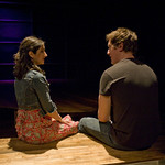 Rebecca Buller (Daisy) and Nathan Hosner (Ian) in HESPERIA at Writers Theatre. Photo by Michael Brosilow.