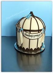 Vintage Birdcage Baby Shower Cake photo by Elegant Cake Creations AZ