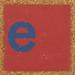Cardboard blue letter e