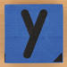 Blue foam brick letter y