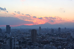 Mt. Fuji sunset from Tokyo Tower photo by kevin dooley