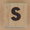 Wood Brick Scorched Letter s